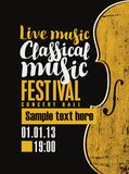 Poster for festival of classical music with violin. Vector banner for a festival live music with the inscription Classical music and a violin in retro style on Royalty Free Stock Images