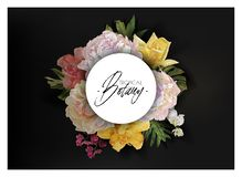 Vector banner with flowers and tropical leaves royalty free stock images