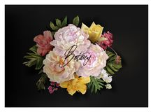 Vector banner with flowers and tropical leaves stock photo
