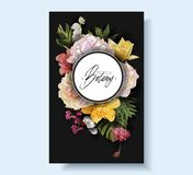 Vector banner with flowers and tropical leaves royalty free stock photography