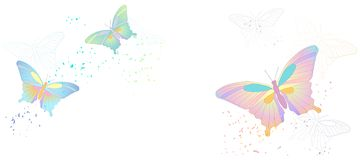 Vector banner with flying butterflies isolated on white. 2D Vector banner with flying multicolored butterflies isolated on white royalty free illustration