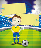 Vector banner. Footballer. Royalty Free Stock Images