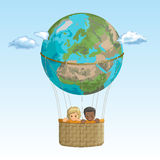 Vector banner friends, traveling by hot air balloon. Black boy and a white girl in the basket of the balloon of planet Earth on a background of sky with clouds Stock Photography