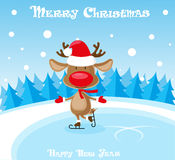 Vector banner funny deer in santa claus hat and skates at the ice rink on blue background Royalty Free Stock Image