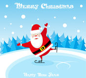 Vector banner funny santa claus in skates at the ice rink on blue background Stock Image