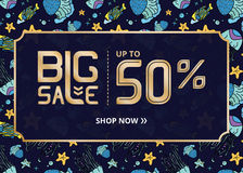 Vector banner with gold lettering big sale up to fifty percent shop now and blue jellyfish Royalty Free Stock Photos