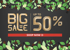 Vector banner with gold lettering big sale up to fifty percent shop now and coffee beans. On grey field Royalty Free Stock Photo