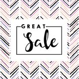 Vector banner for great sale. Chevron modern brush spot in trendy pastel colors. Royalty Free Stock Photography