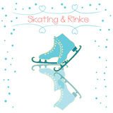 Vector banner with hand drawn skate. Ice Skate label logo design. Ice skating boot. Vector illustration. Stock Photos