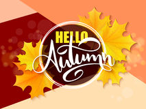Vector banner with hand lettering label - hello autumn - yellow autumn maple leaves and flares.  stock illustration