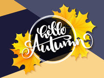 Vector banner with hand lettering label - hello autumn - yellow autumn maple leaves and flares.  Royalty Free Stock Photo