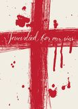 Christ died for our sins. Vector banner with with handwritten inscriptions Christ died for our sins, crosses and drops of blood Stock Images
