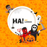 Vector banner Happy Halloween with the characters in a flat style Stock Photos