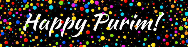 Vector Banner Happy Purim carnival text with colorful rainbow colors paper confetti frame on black background. Vector Web Banner Happy Purim carnival text with stock illustration