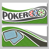 Vector banner of holdem Poker. Vector logo of holdem Poker, consisting of flying playing cards back for gambling game on green felt table in casino club, cover vector illustration