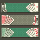 Vector banner of holdem Poker. Playing cards back for gambling game on green texture felt table in casino club, cover banner for text pokers gamble games, in royalty free illustration