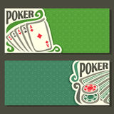 Vector banner of holdem Poker. Playing cards back for gambling game on green texture felt table in casino club, cover banner for text title pokers gamble games royalty free illustration
