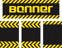 Vector banner with horizontal yellow and black lines on the corrugated metal surface black and three seamless horizontal same meta. Llic background Stock Image