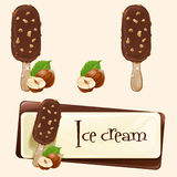 Vector banner with ice cream Royalty Free Stock Images