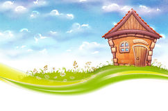 Vector banner illustration of cartoon home on meadow Royalty Free Stock Photos
