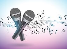 Vector Banner illustration on a Musical theme with microphones and falling notes on violet background. Design template. For banner, poster or greeting card Stock Photos
