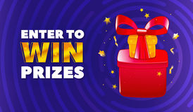 Vector banner with illustration of prizes: gifts, ribbon and bow, confetti and stars. Text ENTER TO WIN PRIZES. Stock Photography