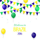 Vector banner with inscription Welcome to Brazil. Background with balloons and with a garland from Brazil flag colors. Invitation to games in Rio de Janeiro Stock Images