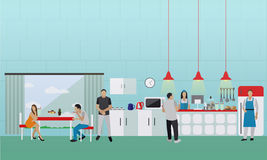 Vector banner with kitchen interior. People having lunch in office cafe Stock Photos
