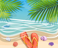 Vector a banner with an landscape beach. Top view of the island paradise.The tropical beach on the seashore for rest palm tree lea. Ves tropics . Maritime hotel Royalty Free Stock Photo