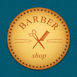Vector banner. Leather label. barber shop logo. emblem Stock Images