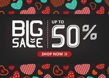 Vector banner with lettering big sale up to fifty percent shop now and colorful hearts on dark field. With red button Royalty Free Stock Photo