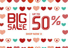 Vector banner with lettering big sale up to fifty percent shop now and colorful hearts. Vector banner with lettering big sale up to fifty percent shop now and Stock Photos