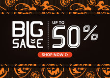 Vector banner with lettering big sale up to fifty percent shop now and happy pumpkin Stock Images