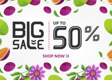 Vector banner with lettering big sale up to fifty percent shop now and passion fruit with flower Stock Photos