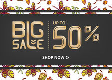 Vector banner with lettering big sale up to fifty percent shop now and pattern autumn leaves Stock Photo