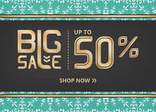 Vector banner with lettering big sale up to fifty percent shop now and snowflake on blue  field with gold stripe. And arrow Royalty Free Stock Photo