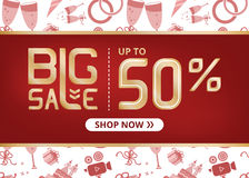 Vector banner with lettering big sale up to fifty percent shop now and with wedding icon set Stock Image