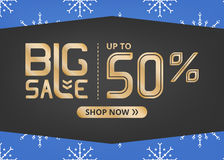 Vector banner with lettering big sale up to fifty percent shop now and with white snowflake on blue field Royalty Free Stock Photography