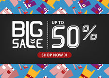 Vector banner with lettering big sale up to fifty percent shop now and women`s clothing set. Vector banner with lettering big sale up to fifty percent shop now Royalty Free Stock Photo