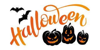 Vector banner with lettering Halloween, bats and pumpkins stock photography