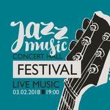 Banner for festival jazz music with a guitar neck. Vector banner for a live music festival with the inscription Jazz music and neck of the guitar in retro style Royalty Free Stock Images