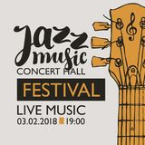 Banner for festival jazz music with a guitar neck. Vector banner for a live music festival with the inscription Jazz music and neck of the guitar in retro style Royalty Free Stock Photography