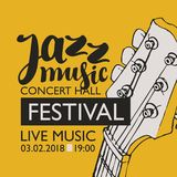 Banner for festival jazz music with a guitar neck Stock Images
