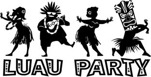 Vector banner for luau. Banner for luau party with people dressed in traditional costumes, EPS 8 vector silhouette, no white objects Royalty Free Stock Photos