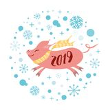 Vector banner 2019 Merry Christmas Happy New Year pink pig shape blue snowflakes label badge print sign poster card. Merry Christmas and Happy New Year 2019 pink stock illustration