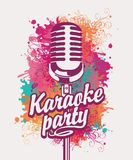 Banner for karaoke party with mic on colored spots. Vector banner with microphone and inscription karaoke party on the art background with colored spots Royalty Free Stock Image