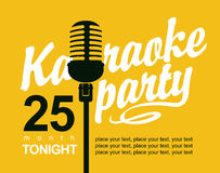 Vector Banner with microphone for karaoke parties Royalty Free Stock Photos