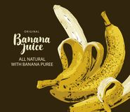 Banner for juice with ripe bananas and inscription royalty free illustration