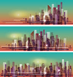 Vector banner night cityscape. Stock Photos