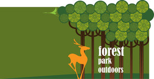 Vector banner park and the animal, conservation Royalty Free Stock Image